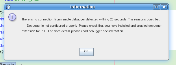 Information: There's not connection from remote debugger in 20 seconds. ...